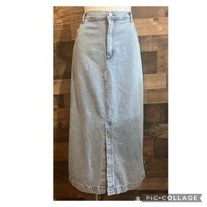 Vintage Light Wash High Waist Long Cotton Denim Jean Midi Maxi Skirt Size 16